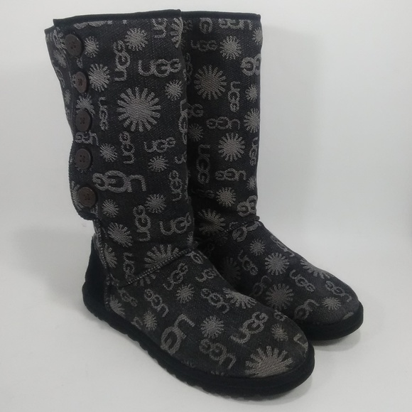 a1a27360004 UGG Lo Pro Denim Jacquard Button Mid Calf Boots 9